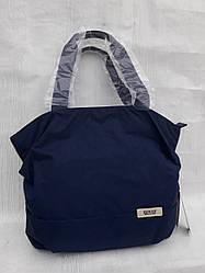 Модная женская сумка на плечо синяя текстильная городская на молнии большой отдел Dolly 091