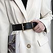 Женский ремень широкий массивный черный с золотой квадратной пряжкой эко-кожаный пояс, фото 4