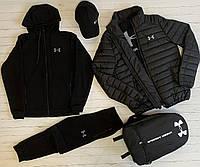 Спортивный костюм мужской Under Armour весенний осенний демисезонный черный | Кофта + Штаны Андер Армор ТОП