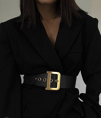 Пояс женский эко-кожаный ремень с люверсами черный широкий с золотой пряжкой ЭКО-кожа, ширина 5,5 см