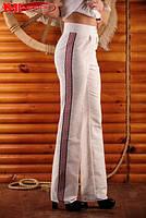 Женские штаны с вышивкой, размер 48