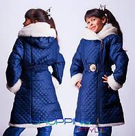 Зимнее пальто на овчинке для девочки 4 цвета