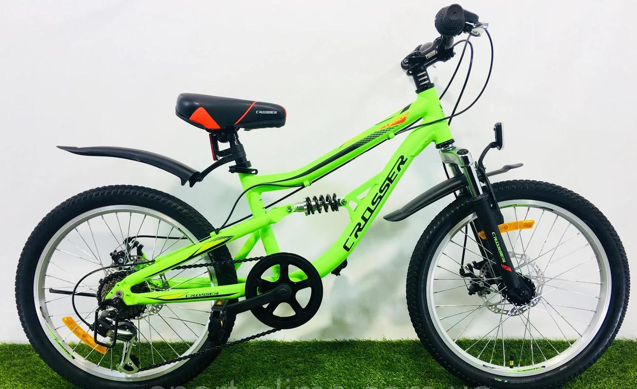 Спортивный двухподвесный велосипед 20 дюймов с дисковыми тормозами Crosser Legion зелено-серый