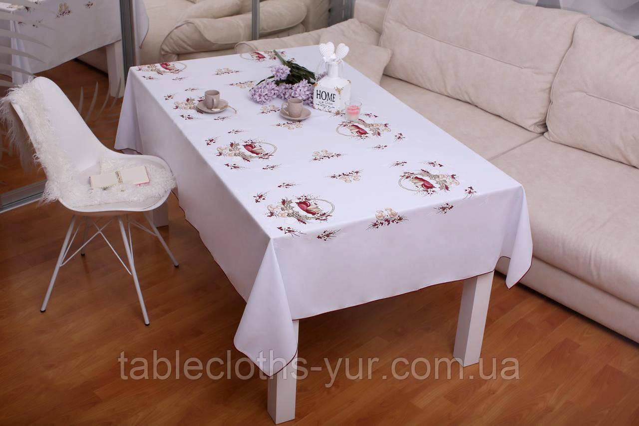 Скатертина Великодня 145-220 «Пасхальний Кошик» Красний візерунок Біла
