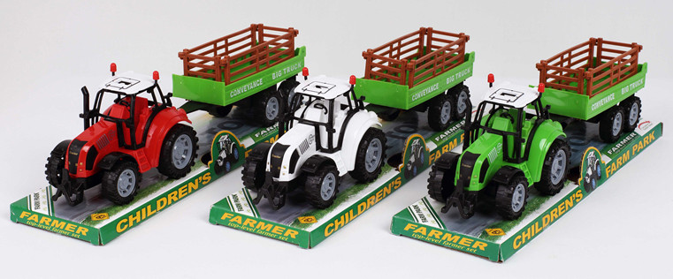 Трактор инерц. FB17-2 (72шт/2) с прицепом,3 цвета, под слюдой 37*10*11,5см