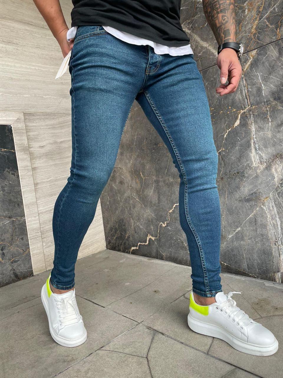 Чоловічі джинси сині завужені
