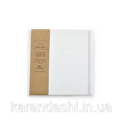 Скетчбук для Акварели 21*21см в твердой обложке Sketch Terier 25% хлопка (Белая обложка), фото 2