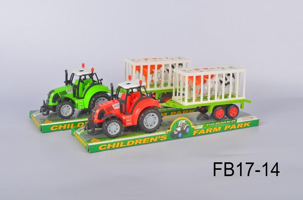 Трактор инерц FB17-14(60шт/2)2вида, с прицепом, животными, под слюдой 37,5*13,5*10см