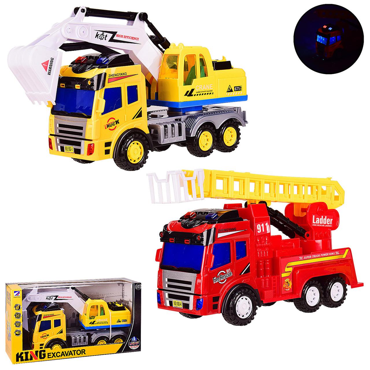 Машина батар. 182-1/182-4 (18шт) 2вида: эксаватор и пожарная машина, свет, р-р игрушки 36,5*13*20см, в кор.