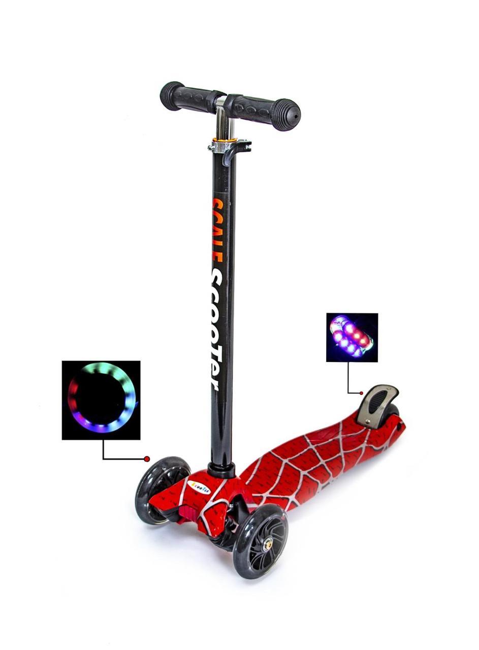 Самокат трехколесный детский Scale Scooter Maxi Паутина для детей от 3-6 лет до 60 кг Светящиеся колеса