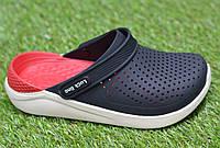 Детские шлепанцы кроксы сабо crocs rad black черные красные р30-35