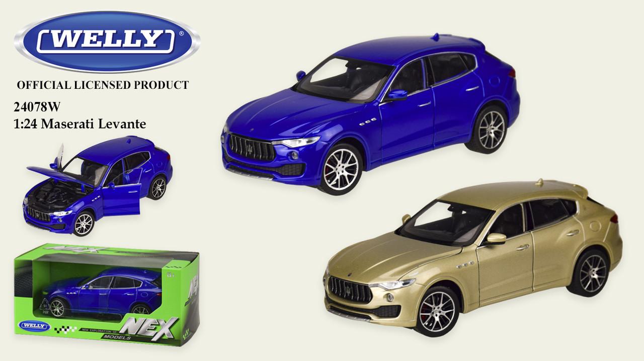 Машина метал 24078W (24шт/4) WELLY1:24 MASERATI LEVANTE,2 цвета,в кор.23*11*10см, р-р игрушки – 18.5*7.5*6.5