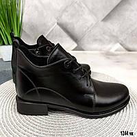 Кожаные полуботинки  женские на шнурках, фото 1