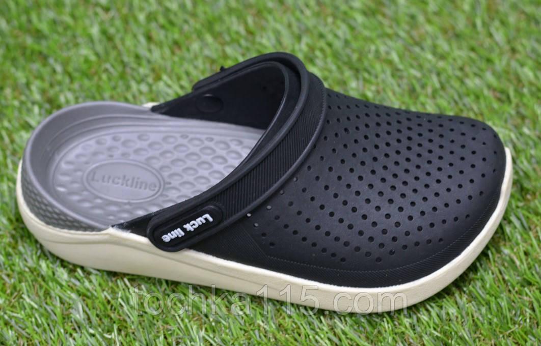 Детские шлепанцы кроксы сабо crocs grey black черные серые р30-35
