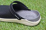 Детские шлепанцы кроксы сабо crocs grey black черные серые р30-35, фото 5