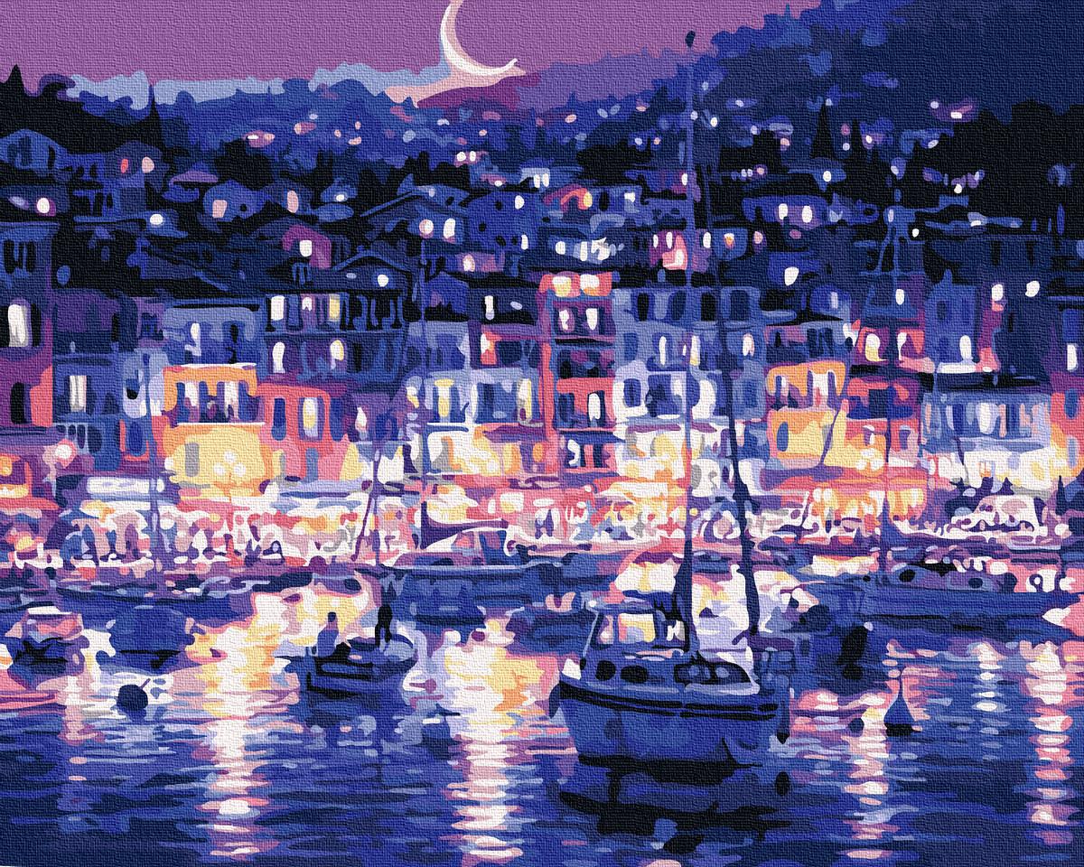 """Картина по номерам BrushMe (Брашми) """"Огни ночного побережья"""" 40х50 см G145"""