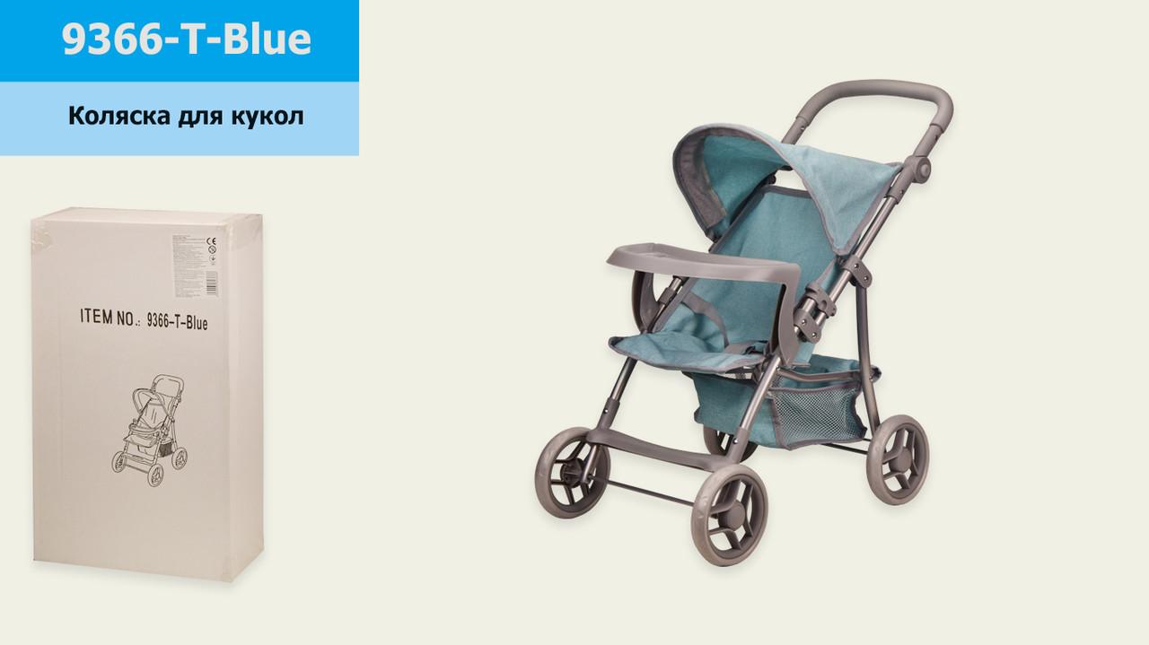 Коляска 9366-T-Blue (4шт) мет,прогулочная,с козырьком,столик,с корзиной, в кор.30*15*50 см, р-р игрушки –