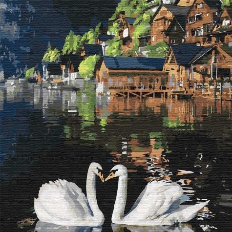 "Картина по номерам Идейка ""Волшебные лебеди"" 30х30 см KHO4199"