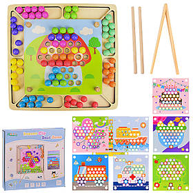 Деревянная игрушка WD2313 (20шт) мозаика, в комплекте 8 шаблонов картинок, в коробке 32*31*4 см, р-р игрушки –