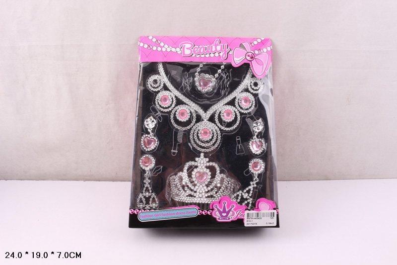 Аксессуары для девочек 610-1 (30шт/2) корона, ожерелье, сережки, браслет, в кор.24*19*7 см