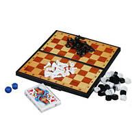 Набор 3 в 1+ (шашки, шахматы, нарды и карты)