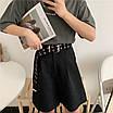 Ремень холщевый черный женский мужской текстильный пояс c заклепками с дырками, фото 3