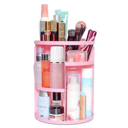 Органайзер для косметики обертовий BEAUTY BOX для зберігання косметики 360 Рожевий Rotation Cosmetic Organizer
