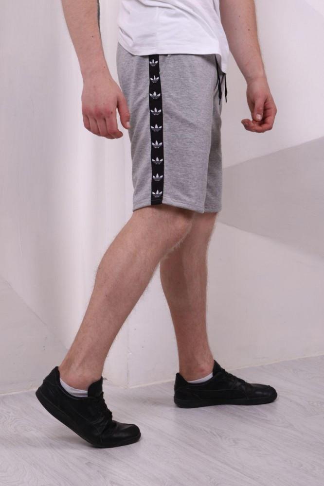 Мужские серые Шорты Adidas с лампасами