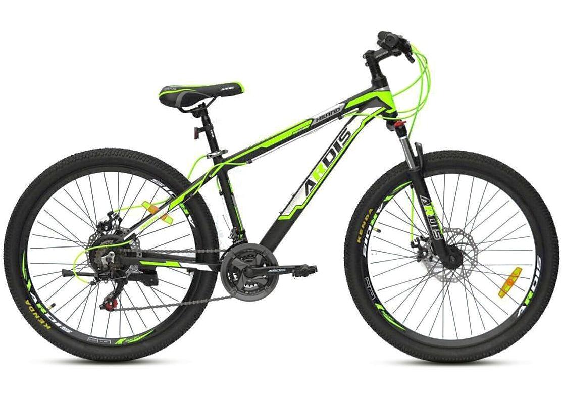 """Підлітковий гірський велосипед Ardis HILAND R24"""" 11"""" з алюмінієвою рамою і дисковими гальмами (Чорно-зелений)"""