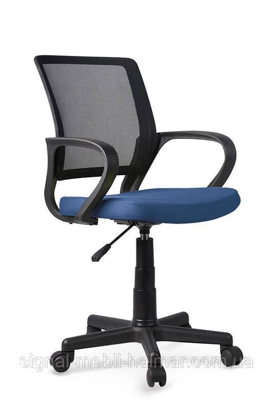 Крісло JOEL комп'ютерний чорний / синій з мембраннои тканини і сітки (Halmar)