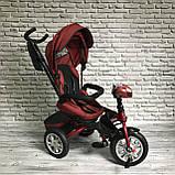 Дитячий триколісний велосипед-коляска з поворотним сидінням батьківською ручкою і дахом 5099-1 ЖОВТИЙ, фото 10