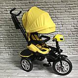 Дитячий триколісний велосипед-коляска з поворотним сидінням батьківською ручкою і дахом 5099-1 ЖОВТИЙ, фото 2