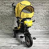 Дитячий триколісний велосипед-коляска з поворотним сидінням батьківською ручкою і дахом 5099-1 ЖОВТИЙ, фото 6