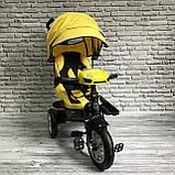 Дитячий триколісний велосипед-коляска з поворотним сидінням батьківською ручкою і дахом 5099-1 ЖОВТИЙ, фото 4