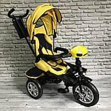 Дитячий триколісний велосипед-коляска з поворотним сидінням батьківською ручкою і дахом 5099-1 ЖОВТИЙ, фото 3