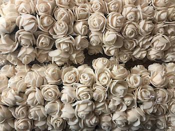 Розочка из фоамирана 1 бежевая молочная для флористики декорирования и творчества 20 мм