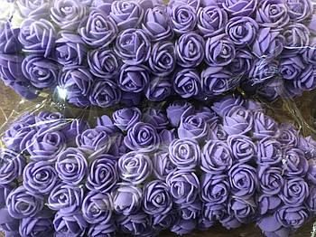 Розочка из фоамирана 3 фиолетовая сиреневая для флористики декорирования и творчества 20 мм на проволоке
