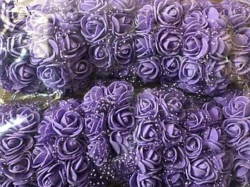 Розочка из фоамирана 4 фиолетовая сиреневая для флористики декорирования и творчества 20 мм на проволоке
