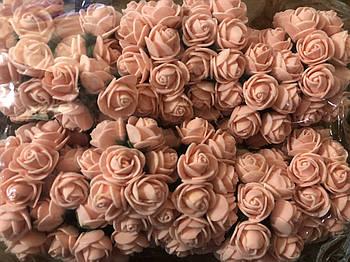 Розочка из фоамирана 5 персиковая для флористики декорирования и творчества 20 мм на проволоке