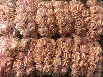 Розочка из фоамирана 6 персиковая с фатином для флористики декорирования и творчества 20 мм на проволоке