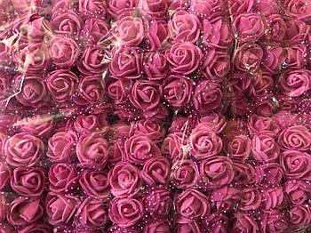 Розочка из фоамирана 8 розовая с фатином для флористики декорирования и творчества 20 мм на проволоке