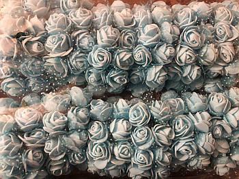 Розочка из фоамирана 10 голубая с фатином для флористики декорирования и творчества 20 мм на проволоке