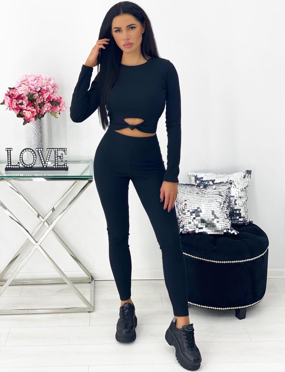 Женский чёрный фитнес костюм (лосины и топ)