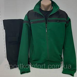 Демісезонний зелений спортивний трикотажний костюм FORE Туреччина бавовна 74 штани манжет розміри м 2хл
