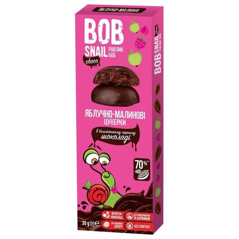 Яблучно-малинові цукерки у чорному шоколаді Bob Snail, 30г