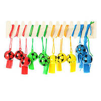 (ЗАКАЗЫВАТЬ ПО-12 ШТ В УПАКОВКЕ) Свисток MS 0364-1 пластик,   футбол, 5,5-3-3см