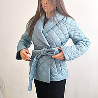 Укороченное стеганное пальто голубое
