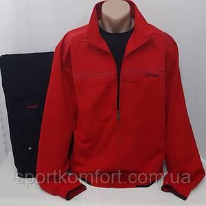 Турецький спортивний трикотажний костюм FORE бавовна 74 червоний батал брюки прямі