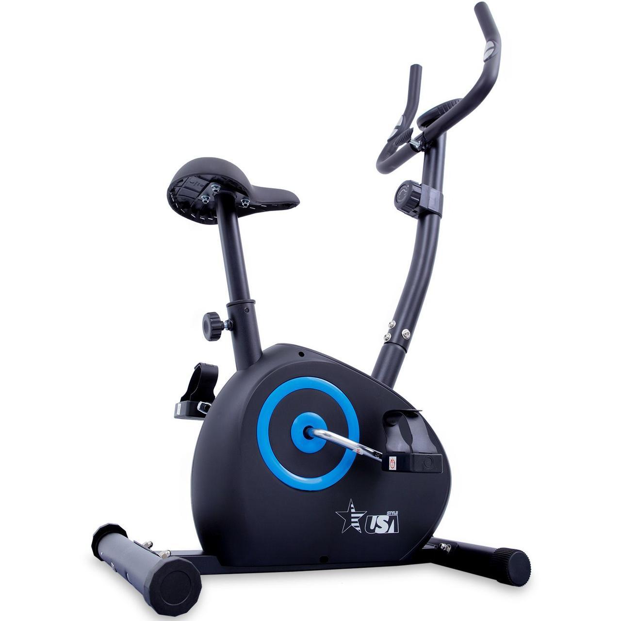 Домашній велотренажер магнітний до 100 кг USA Style GQ207 вертикальний чорний з синім