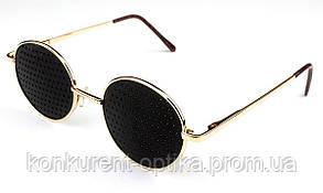 Черные очки-тренажеры круглые в металлической оправе VIP